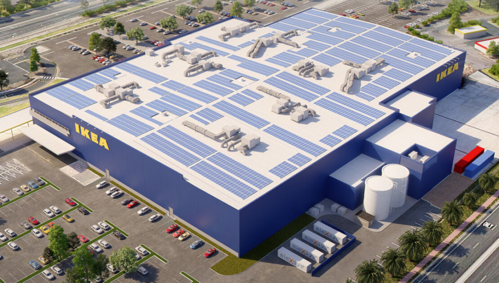 Ikea Buidling with Planet Ark Power solar panels on rooftop