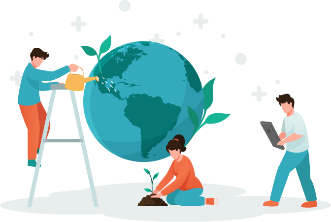 Illustration with three people. One is watering the planet Earth, the other one planting a plant and one is standing with a tablet.